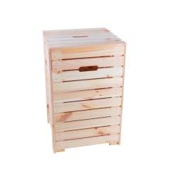 Wooden laundry basket -...