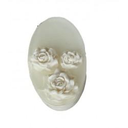 Oval Seife - Weiße Rosen